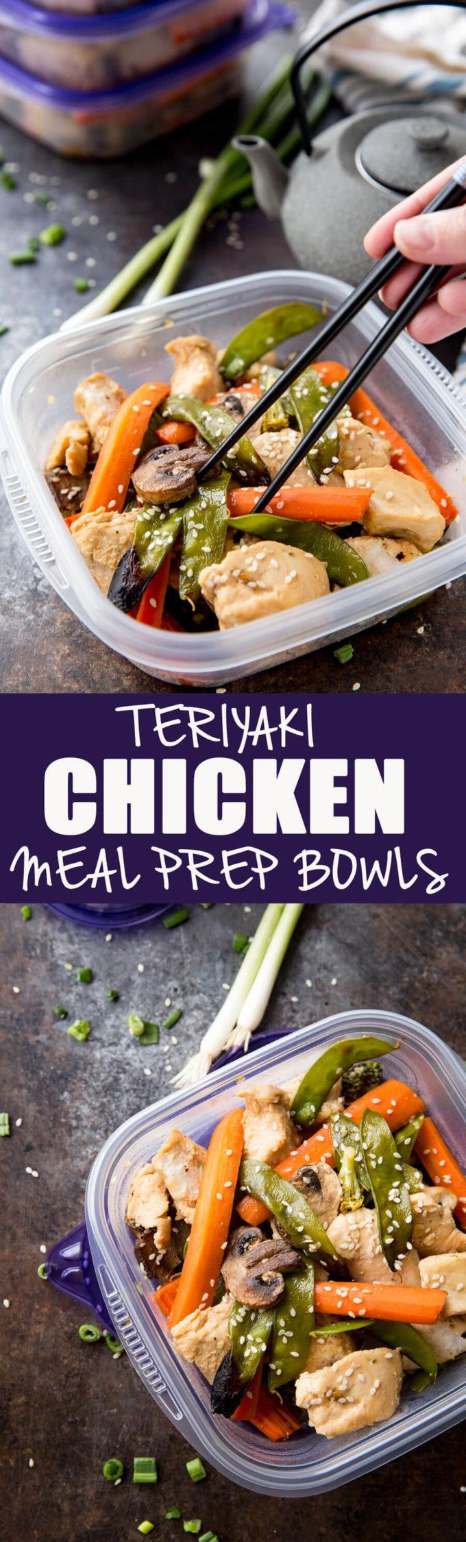 Easy to make sesame teriyaki chicken meal prep bowls