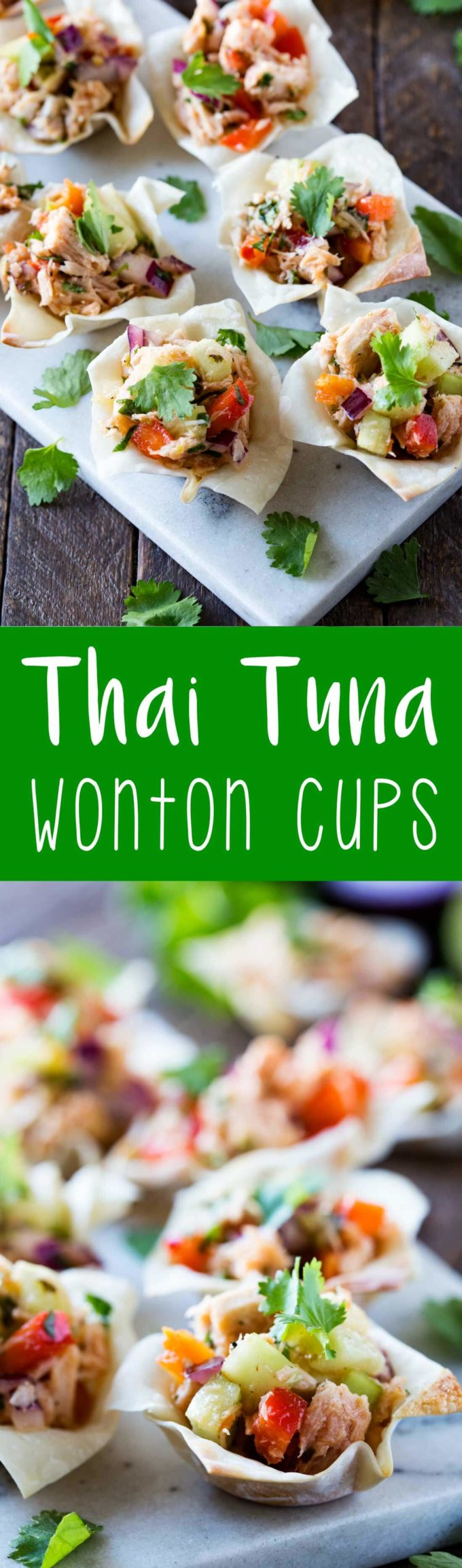 Thai Tuna Wonton Cups are a savory Thai inspired appetizer that is a great source of protein and absolutely delicious.