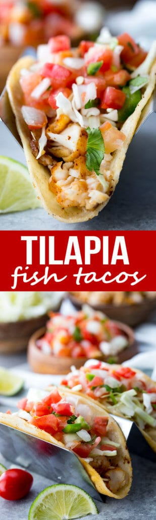 Easy, flavorful, tilapia fish tacos with pan fried tilapia, pico and more