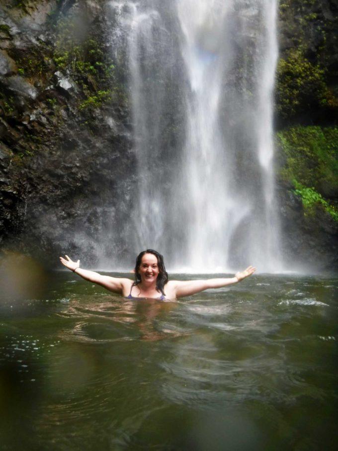 Hiking to a waterfall in Kauai