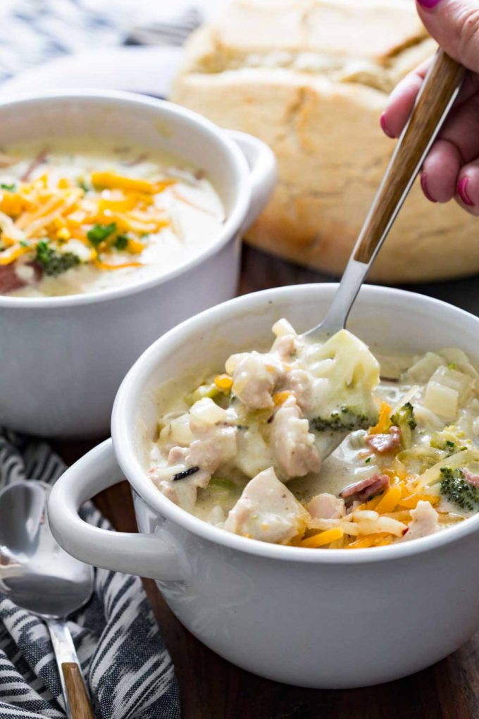 Creamy cheddar wild rice, chicken broccoli, and bacon soup