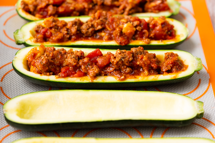 Zucchini boats stuffed with beef and tomato sauce
