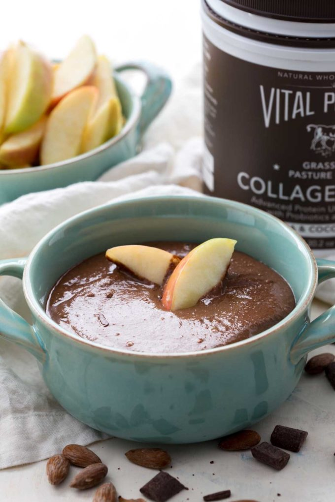 Easy homemade chocolate almond butter, with extra protein