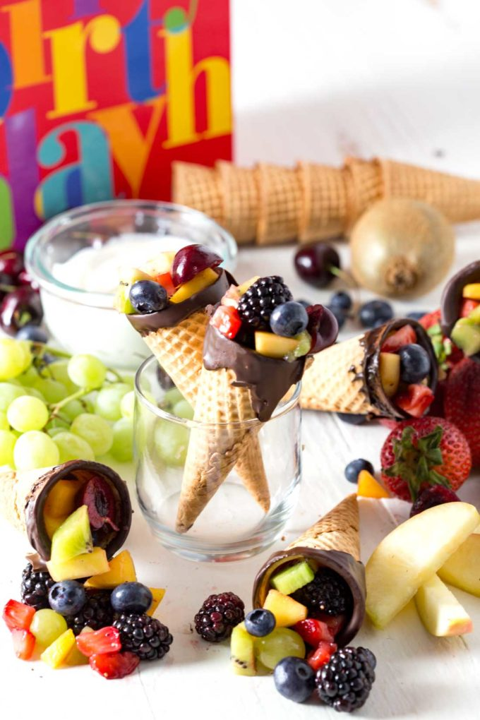Chocolate Dipped Fruit Cones & Cheesecake Fruit Dip - Eazy Peazy Mealz