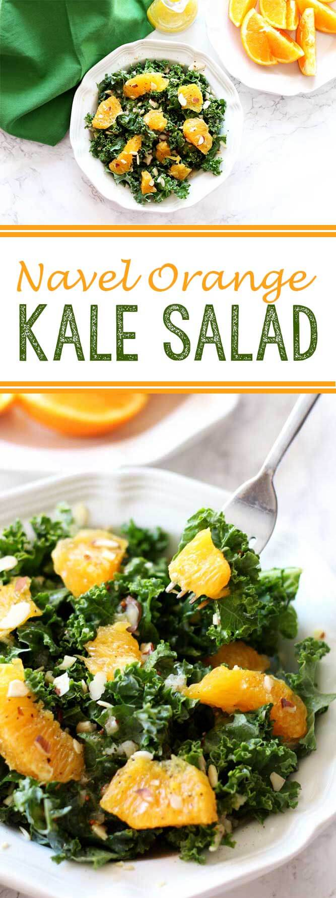 Navel Orange Kale Salad is a light, summery salad that is absolutely ...