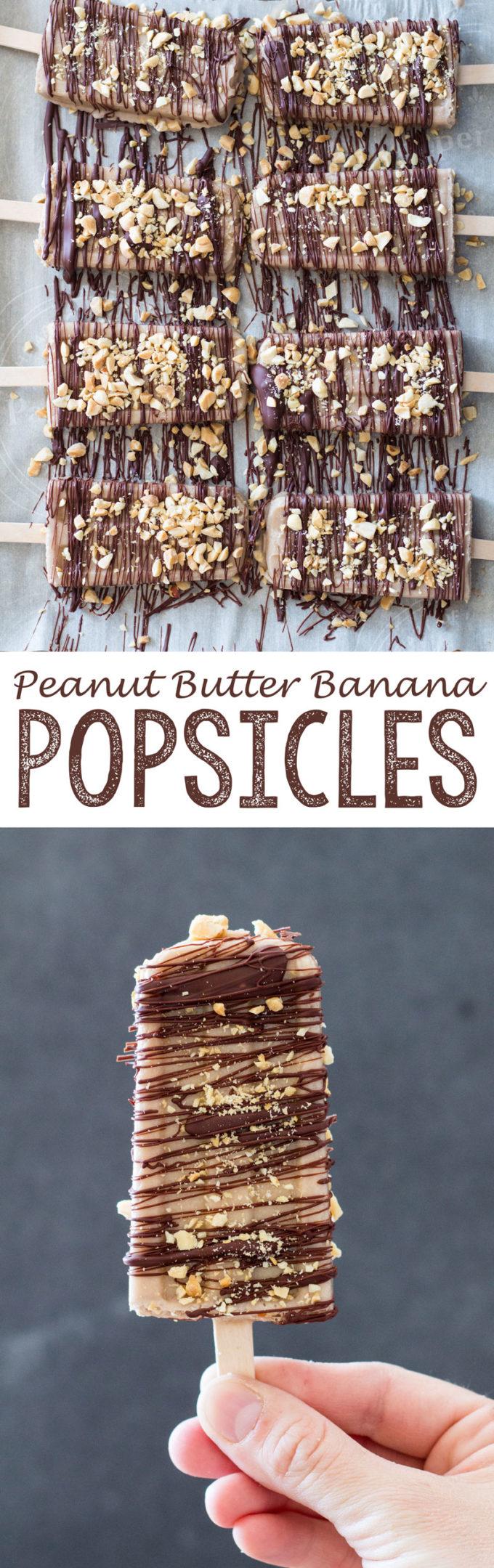 Peanut Butter Banana Popsicle's, summer Popsicle dessert, healthy summer Popsicle