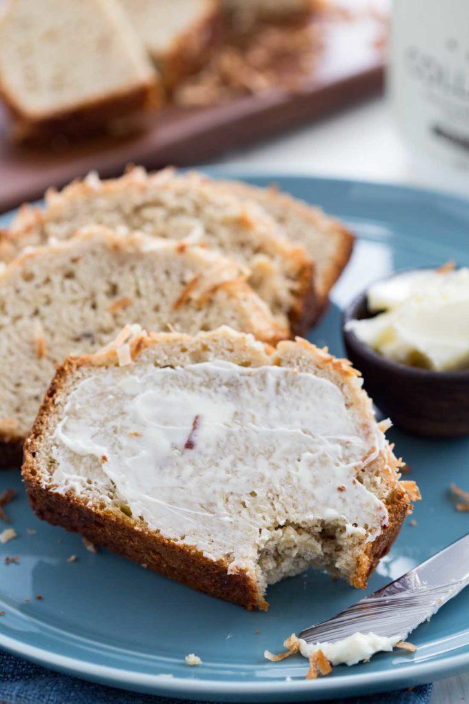 Coconut Vanilla Banana Bread, a protein rich bread, a simple banana bread recipe