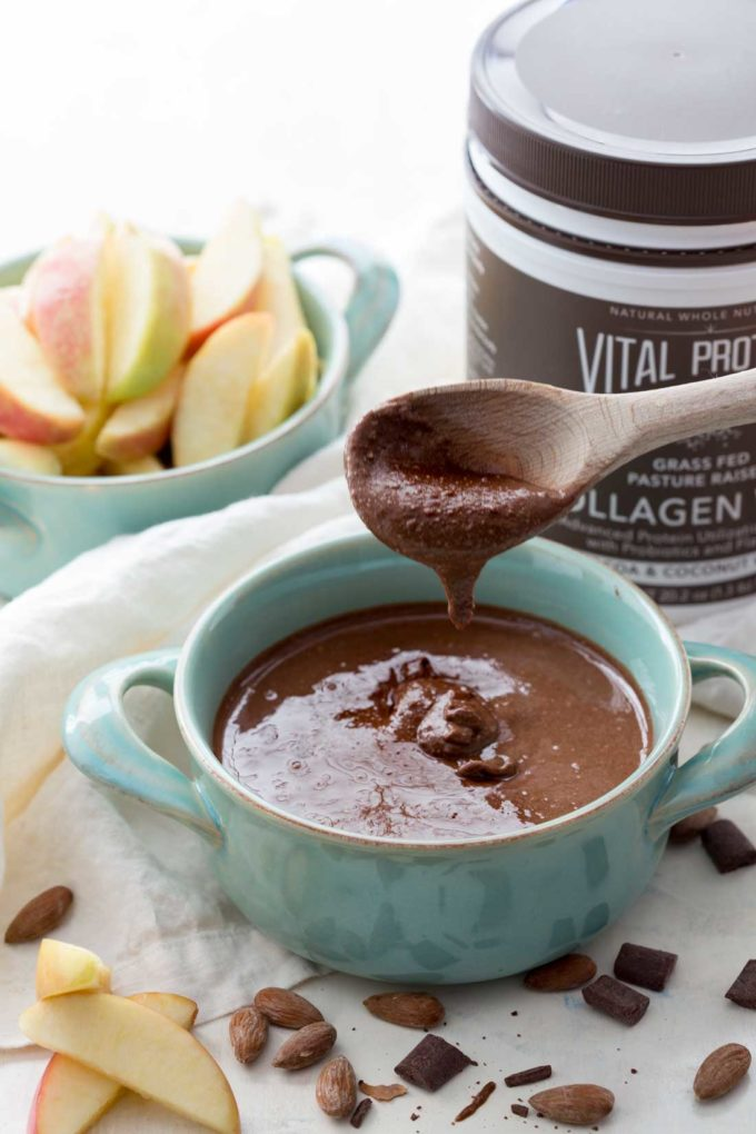 Homemade Chocolate Almond Butter: Creamy, easy, and oh so delicious almond butter that whips up in minutes, and is chocolate-y nut butter dreams are made of.