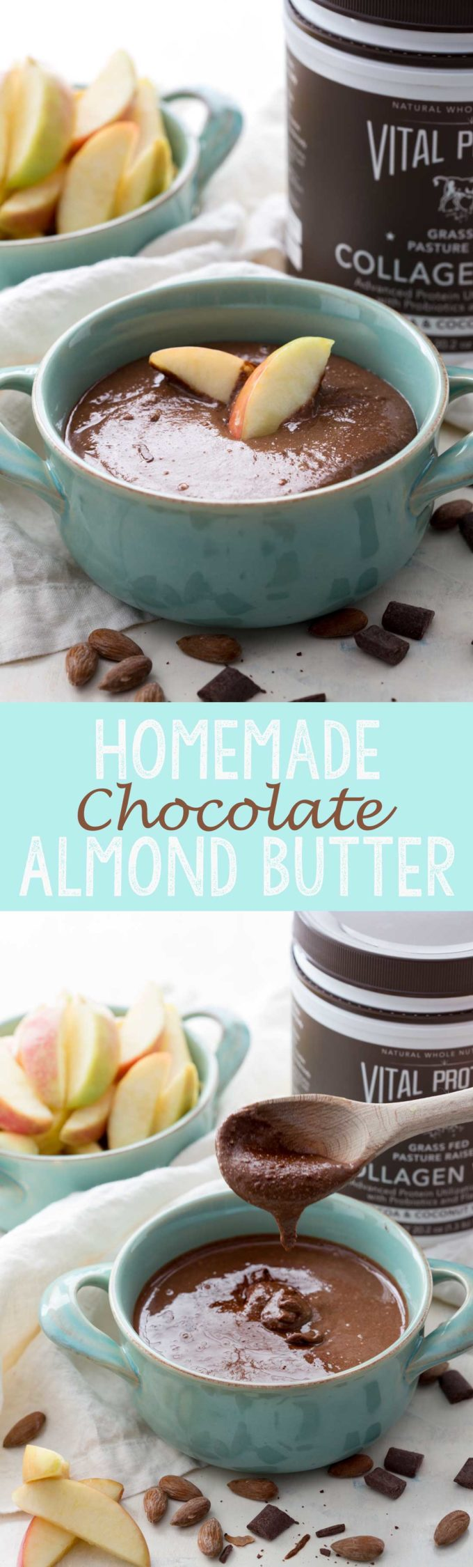 A healthy, homemade, easy chocolate almond butter with an added scoop of protein to make it even better!