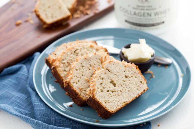 Protein rich breakfast, Slices of coconut vanilla banana bread, easy banana bread