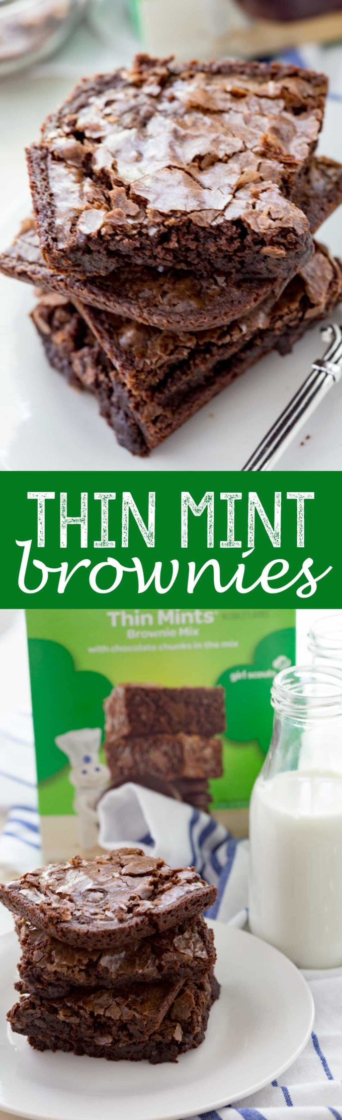 THin MInt Brownies are Girl Scout Cookie inspired brownies your whole family will love