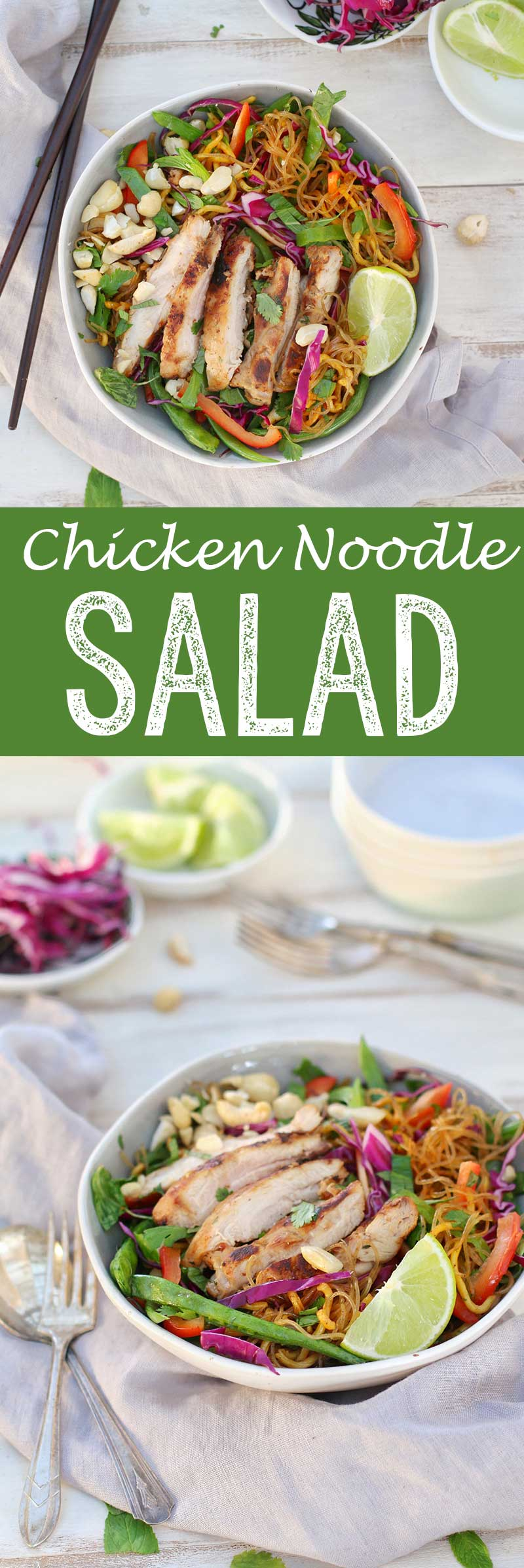 Chicken Noodle Salad. Moist chicken, flavorful noodles, and plenty of veggies.