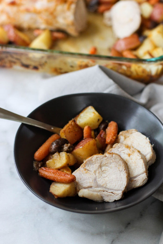 This Pork Loin with Apples, Potatoes, and Carrots can be made in one pan which makes for a quick and delicious weeknight meal!
