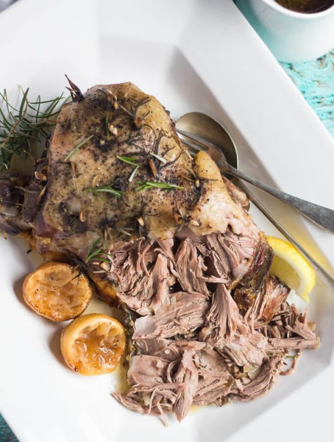 Slow Cooker Roast Lamb with Lemon, Rosemary and Garlic