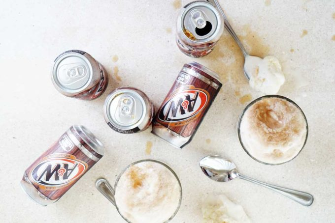 A&W root beer float, ice cream float, easy root beer dessert