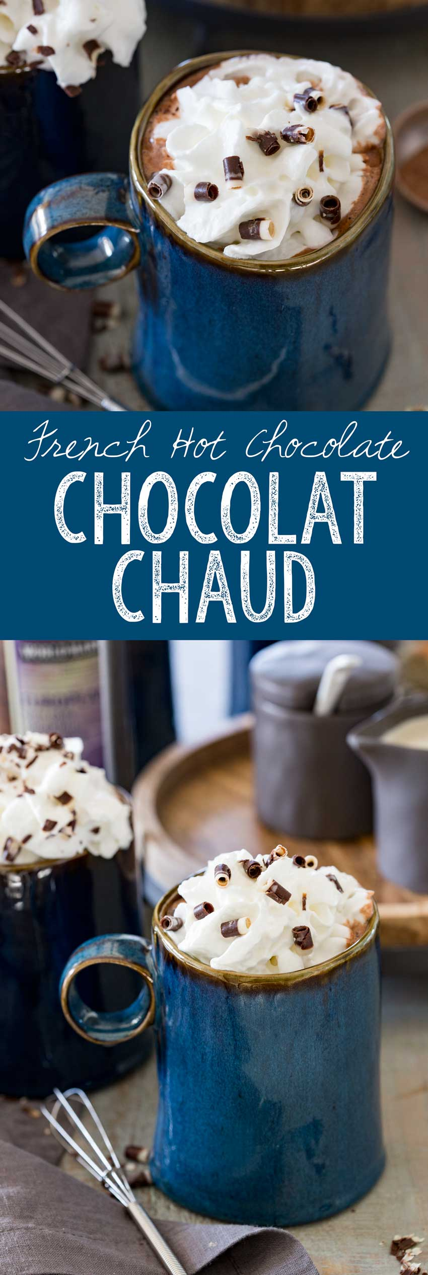 Rich and creamy, this deep dark hot chocolate is the french version of hot chocolate.