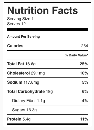 Flourless Peanut Butter Caramel Bars Nutrition Facts