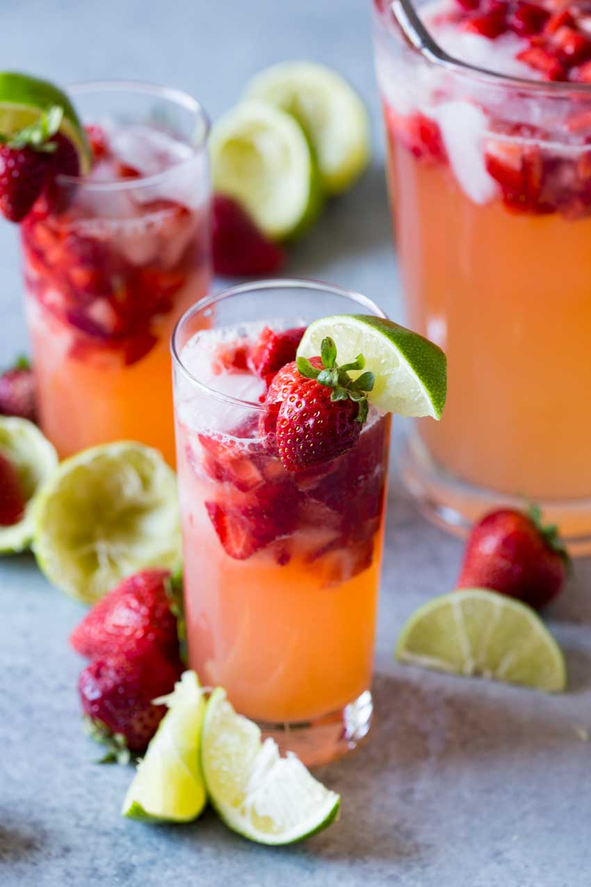 Sparkling strawberry limeade is a fresh lime and strawberry drink that is refreshing and perfect for summer.