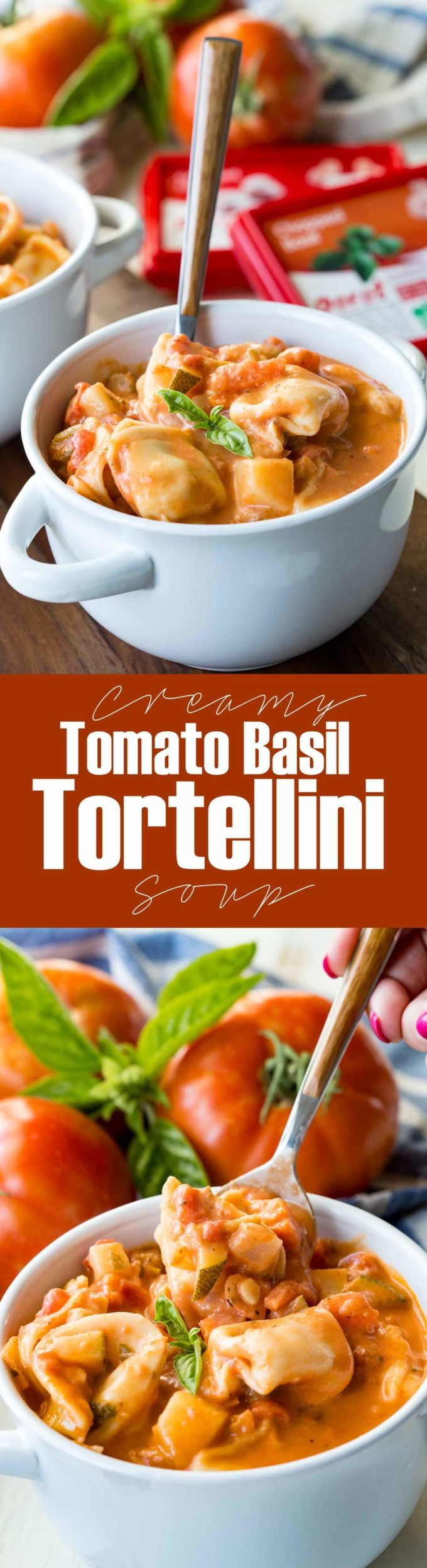 I made this for dinner and we licked the pot clean. Creamy Tomato Basil Tortellini Soup packed with veggies. #ad