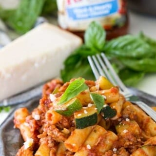 Skillet ziti with spicy sausage and zucchini, an easy and flavorful dinner!