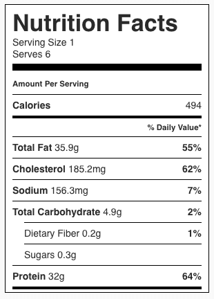 Skillet Garlic Lemon Chicken with White Wine Sauce Nutrition Facts