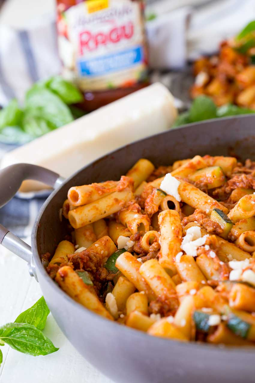 spicy sausage and zucchini skillet ziti, the perfect weeknight meal, turn it into a freezer meal for later