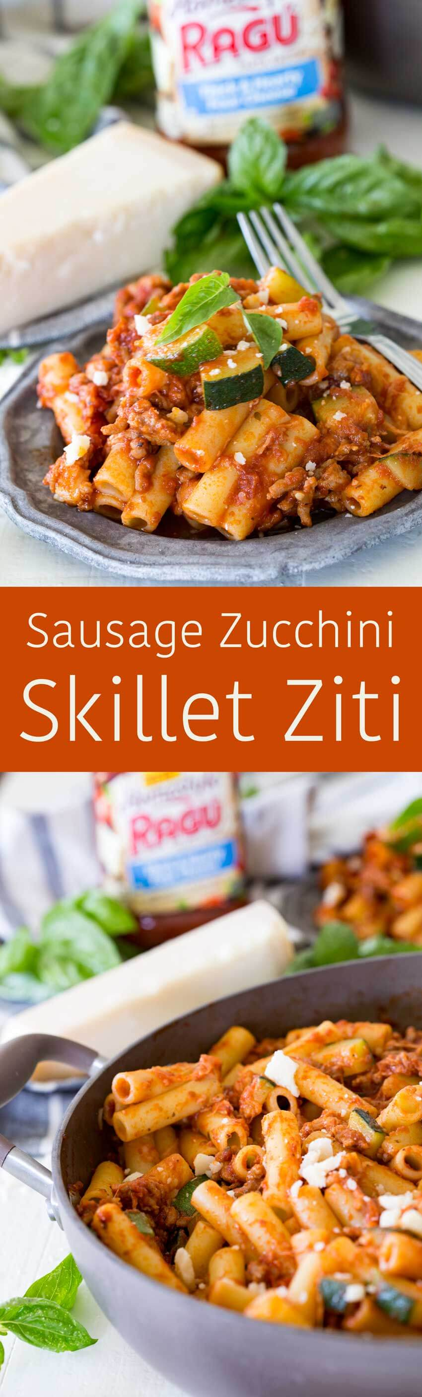 Sausage zucchini skillet pasta, the perfect weeknight meal, a great option for lunch or dinner