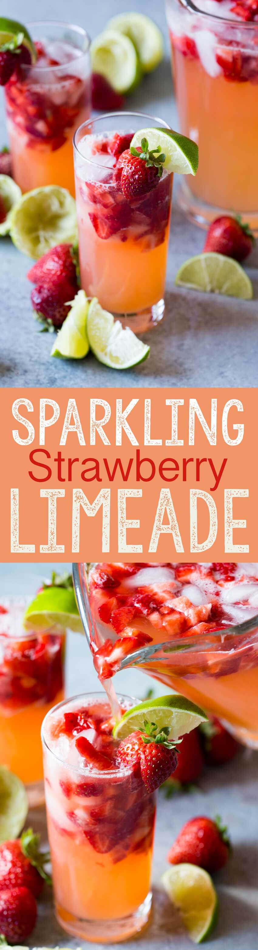 Sparkling strawberry limeade is light, refreshing, and delicious.