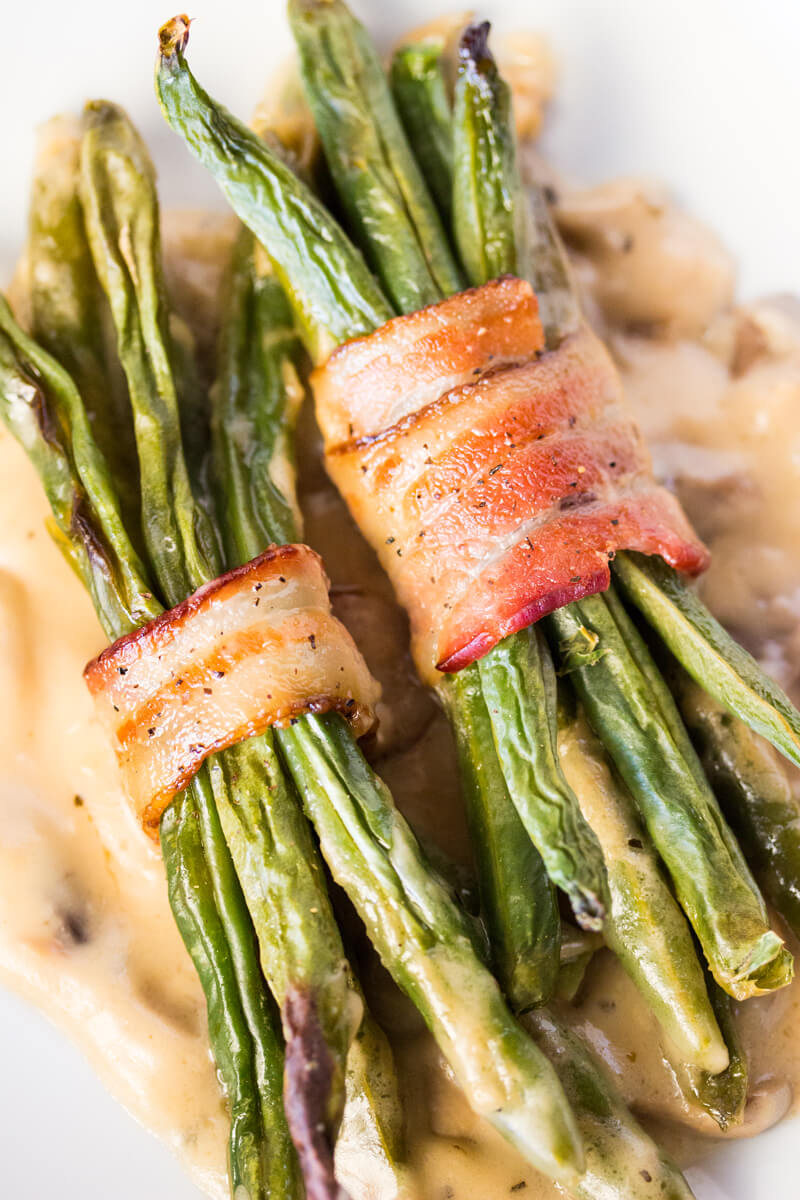 Bacon Wrapped Green Bean Bunderl with Mushroom Gravy