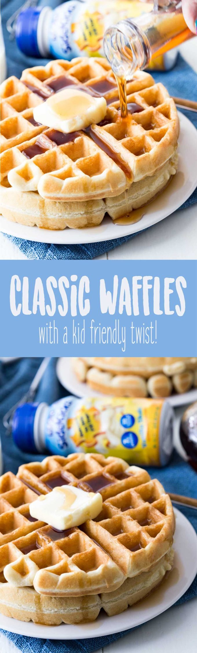 Classic waffle recipe with a fun kid friendly twist to make it even more awesome!