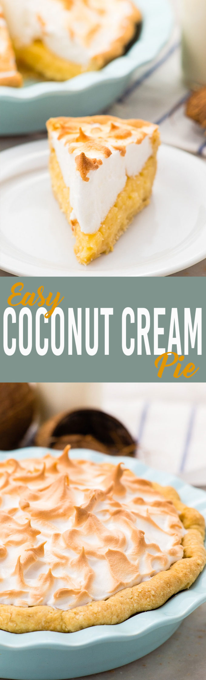 The best ever Coconut Cream Pie, thick rich filling with a delicious meringue on top.