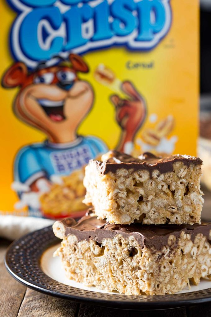 Sugar Puff Cereal Recipes: This is a gooey marshmallow-y, chocolate and peanut butter, cereal bar, with everything you want in a delicious treat.