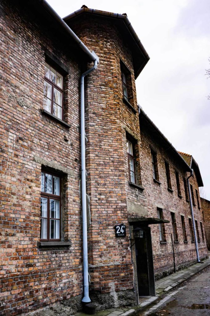 A building at Auschwitz, a scar and horrible place to visit.
