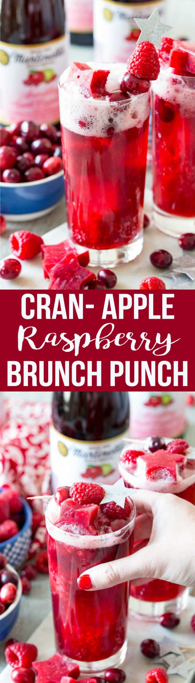Apple Cranberry Raspberry Sparkling Brunch Punch is so simple to make and tastes amazing