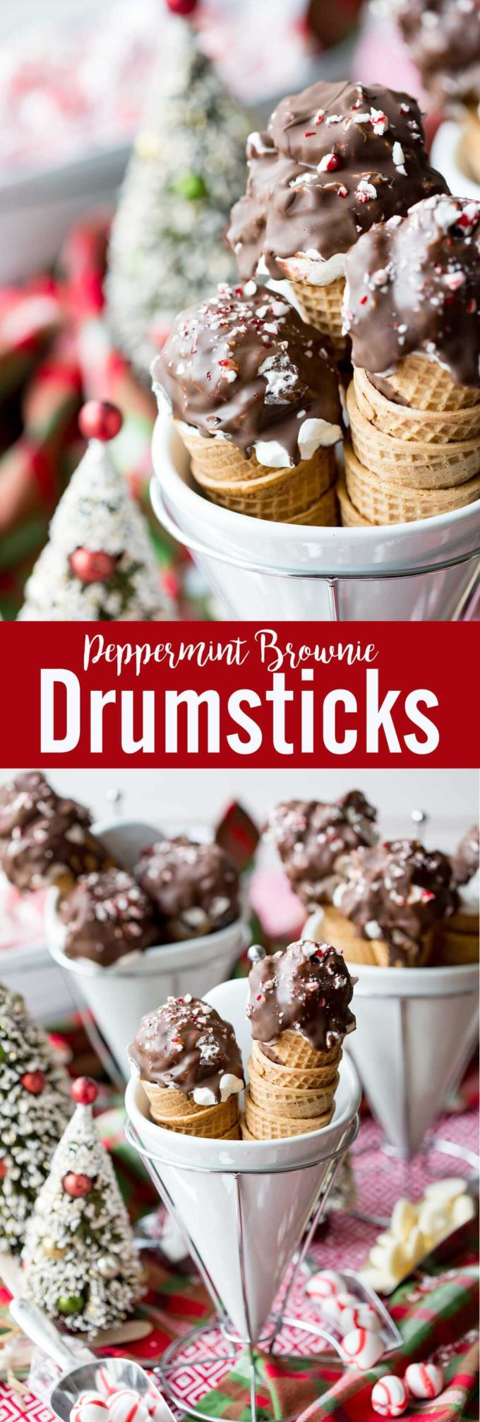Peppermint Brownie Drumsticks are no churn peppermint ice cream.