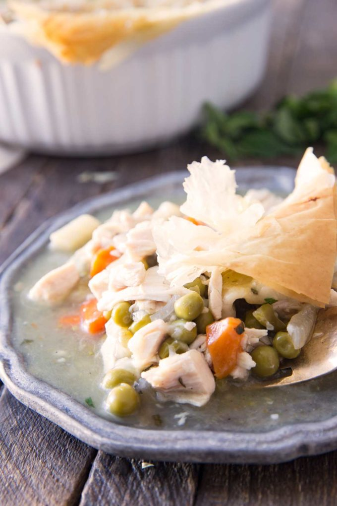 Hearty, delicious, and low calorie, this lightened up chicken pot pie has it all