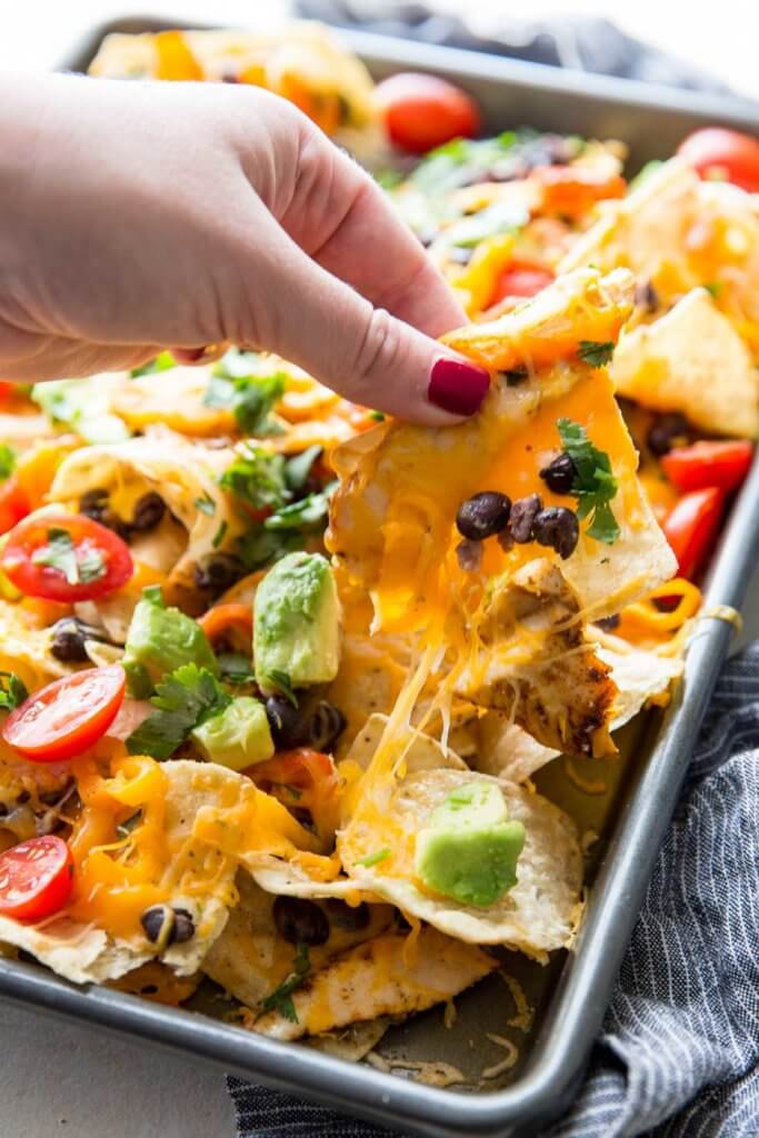 Delicious chicken nachos made on a sheet pan