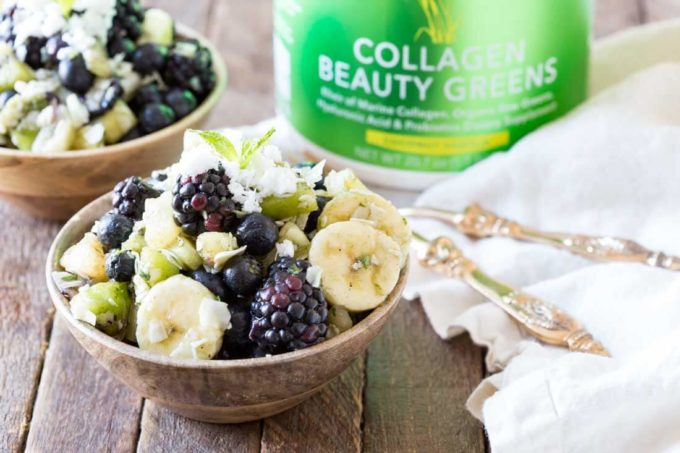 Pina Colada Fruit salad packed with flavor and sporting a refreshing dressing that is good for your skin!