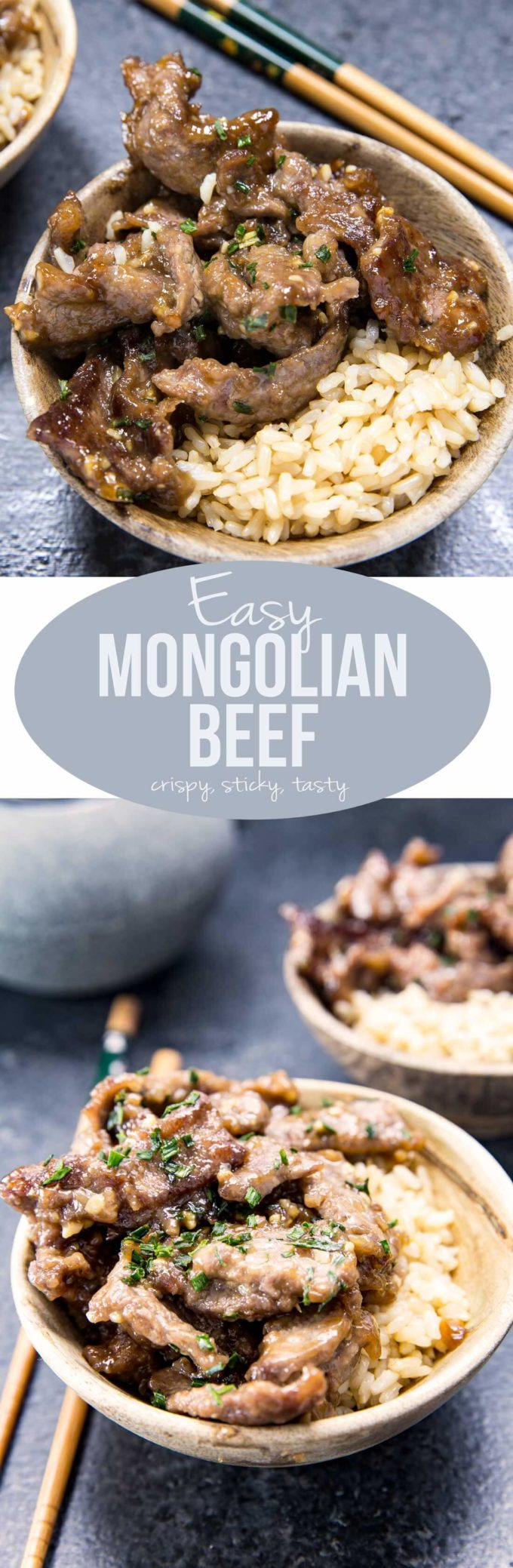 Easy Mongolian Beef is crispy, sticky, easy to make, and features an addictive sauce that is warmly perfumed with asian flavors. It can also be batch prepped ahead of time, to fit nicely into a rotation of favorite meals.