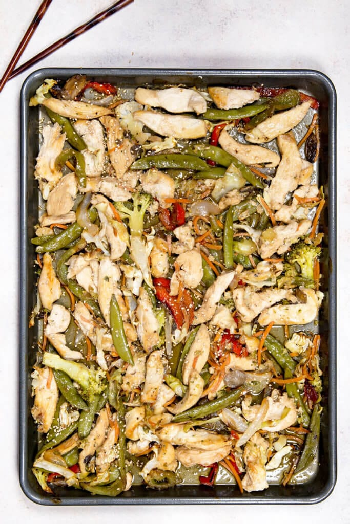A sheet pan of stir fry with chicken, great flavor, and low mess