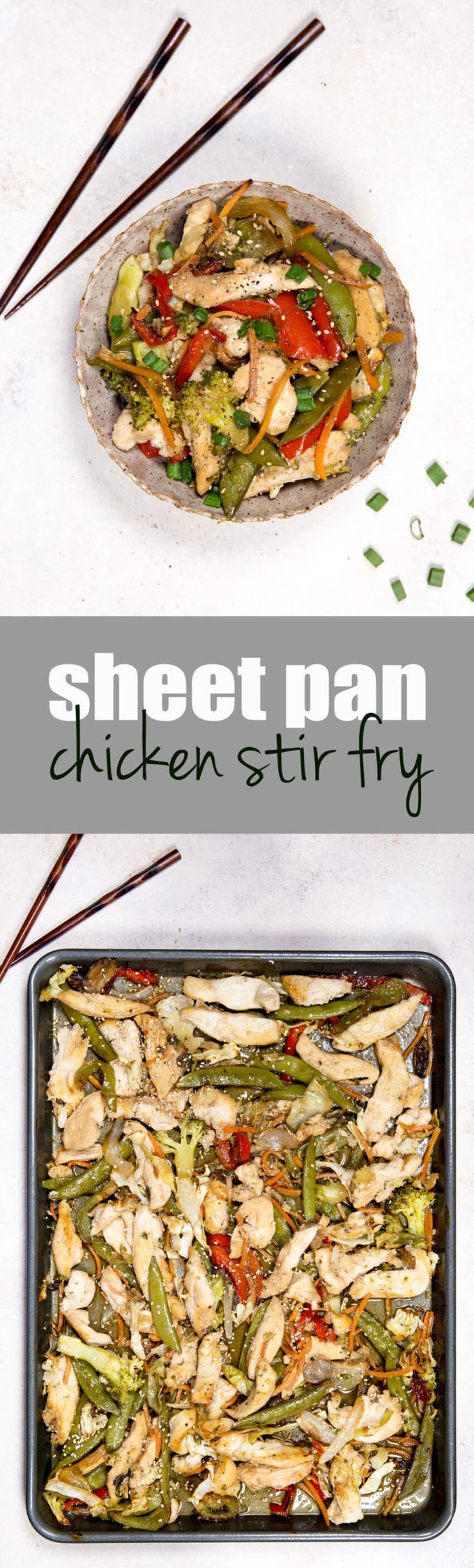 Chicken stir fry cooked on a sheet pan
