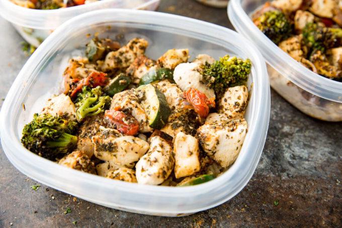 Meal Prep Bowls, Seasoned Italian Chicken and Veggies