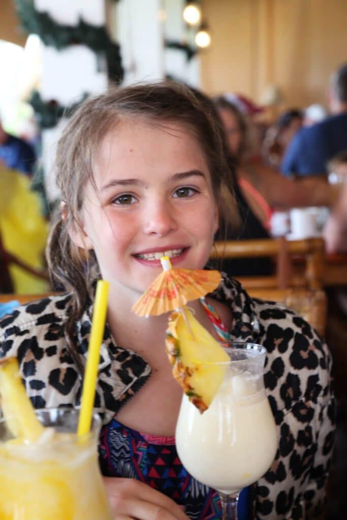 Maui Family Vacation Pina Colada Drinking at Hula Grill