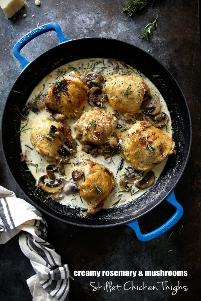 Chicken Thighs with Mushroom Cream Sauce: Creamy, hearty, and delicious chicken that is a real crowd pleaser and easy to make. Every last creamy, luscious bite!