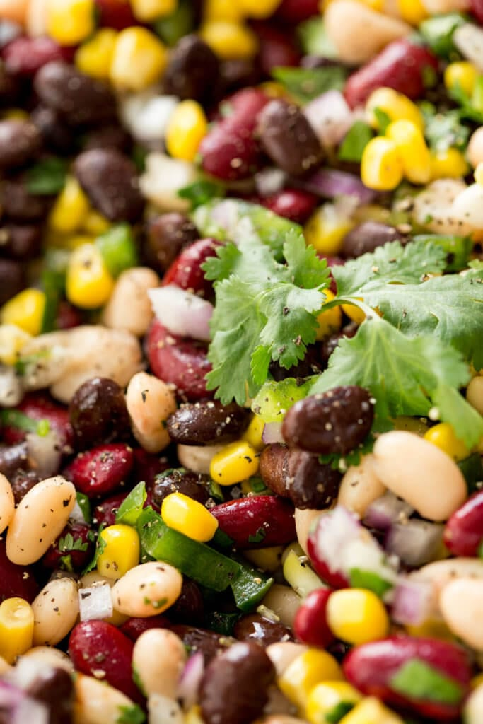 Delicious three bean pulse salad that is tasty and fun