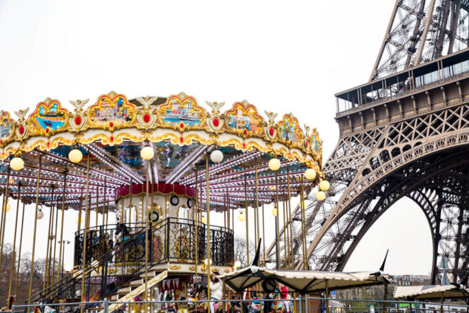 The carousel at the Eiffel Tower in paris