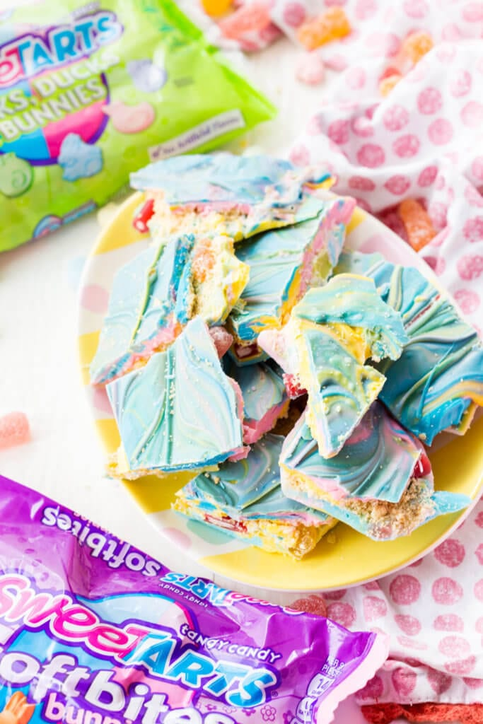 Easter Bark with a fun cookie and candy filled center