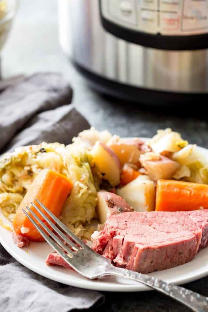 Corned beef and cabbage cooked in an instant pot