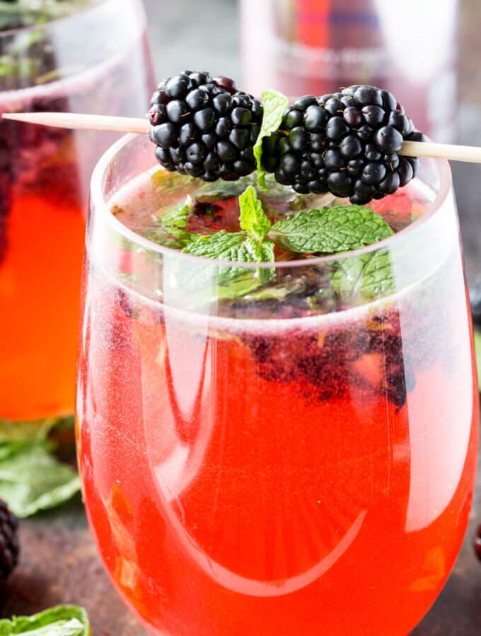 Black Cherry Dragonfruit Mocktail with Blackberry Mint and Lime