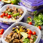 Easy Pork Carnitas Meal Prep Bowls, crock pot of instant pot